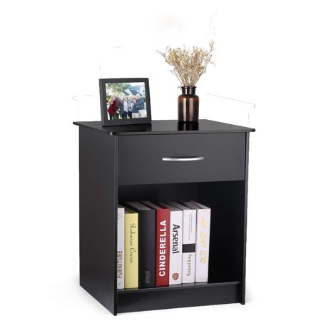 FCH UBesGoo Black Bedroom Bedside Best Furniture Nightstand End Table Shelf Drawer Strorage