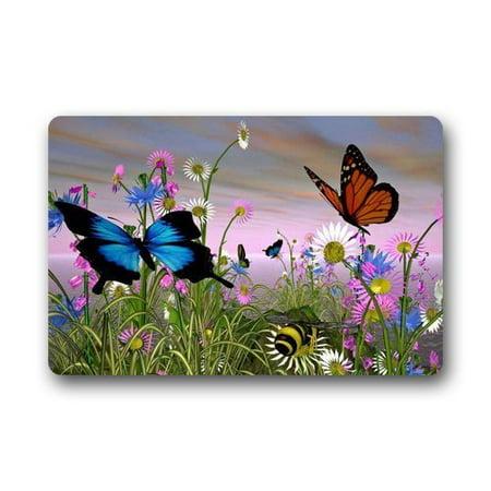 WinHome Butterfly Doormat Floor Mats Rugs Outdoors/Indoor Doormat Size 30x18 inches](Butterfly Rug)