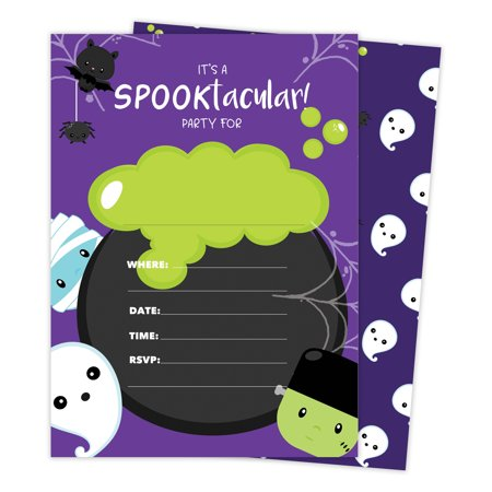 Halloween Boy 1 Happy Birthday Invitations Invite Cards (25 Count) With Envelopes & Seal Stickers Vinyl Girls Boys Kids - Cool Halloween Invites