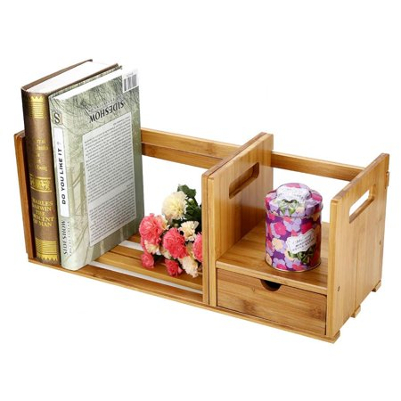 VBESTLIFE Bookshelf OrganizerBamboo Adjustable Book Storage Organizer With Single Drawer For Bedroom Office