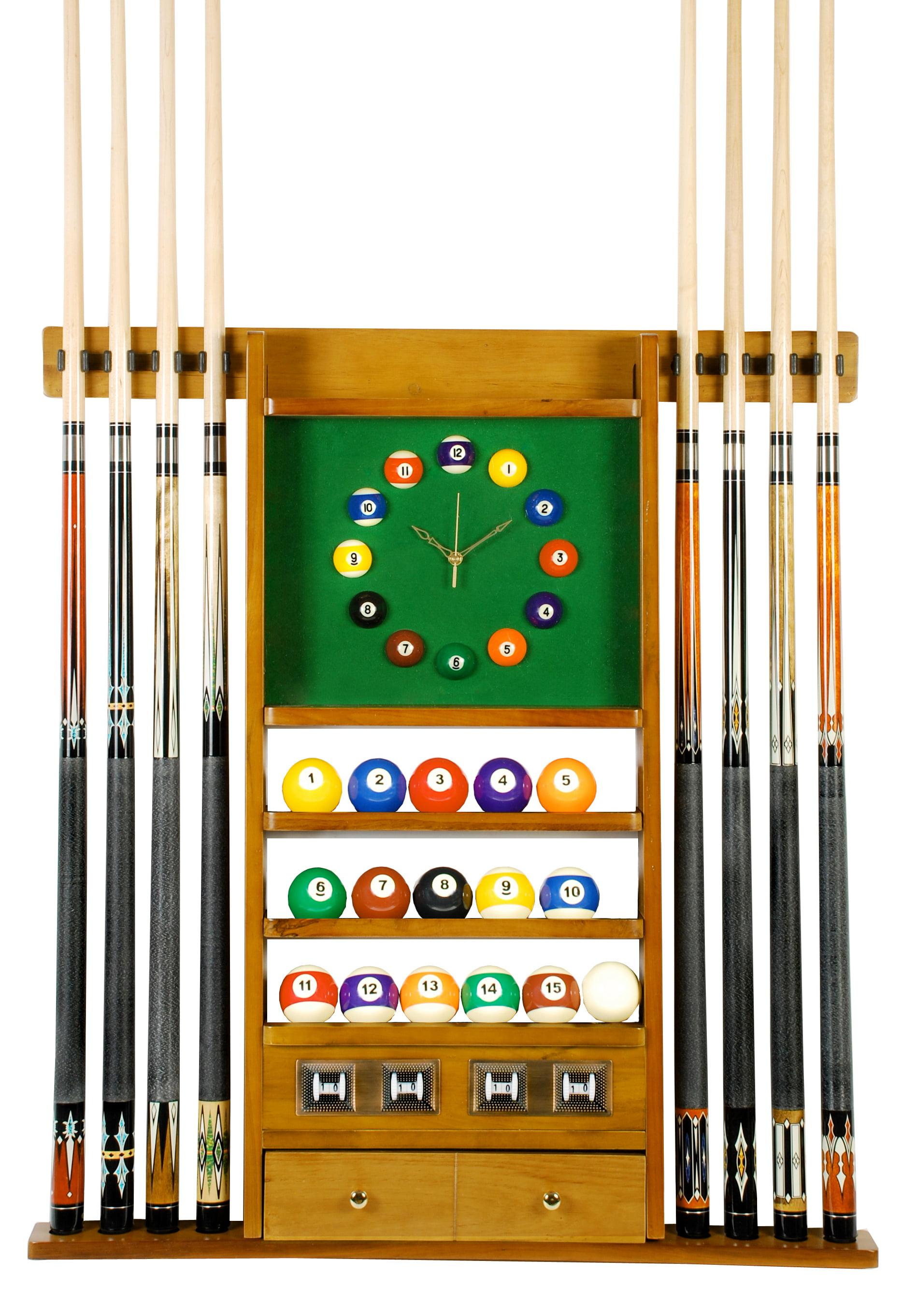Cue Rack Only 8 Pool Billiard Stick & Ball Set Wall Rack W Clock Oak Finish by