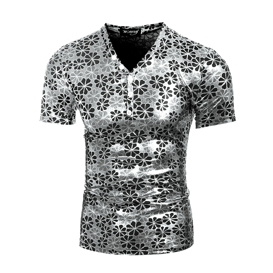 Men's Floral Prints Shiny Button Upper Short Sleeves Shirt Silver (Size M / 38)