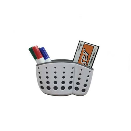 Ghent Manufacturing ASB54WH1 Accessory Basket with Suction Cups, 4 Markers & Eraser - White