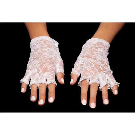 Kayso LG001WH White Fingerless Lace - White Lace Fingerless Gloves