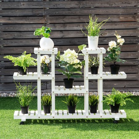 Rolling Flower Rack Wood Plant Stand Casters 12 Pots