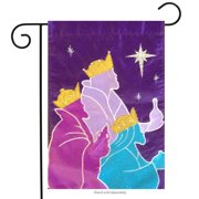 "O Holy Night Applique Garden Flag Christmas Nativity Wisemen Holiday 11.5"" x 18"""