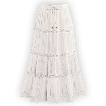 Women's Crinkled Eyelet Lace Tiered Ivory Skirt with Elastic Waistband - Stylish Summer Skirt, Xx-Large, - Lace Shirt & Tiered Skirt