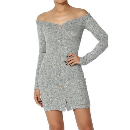 1f5fa60614f7 TheMogan - TheMogan Junior s Cozy Sexy Off Shoulder Sweetheart Button Knit  Bodycon Mini Dress - Walmart.com