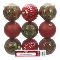 Holiday Time Shatterproof Ornaments, 9-Count, Red Green