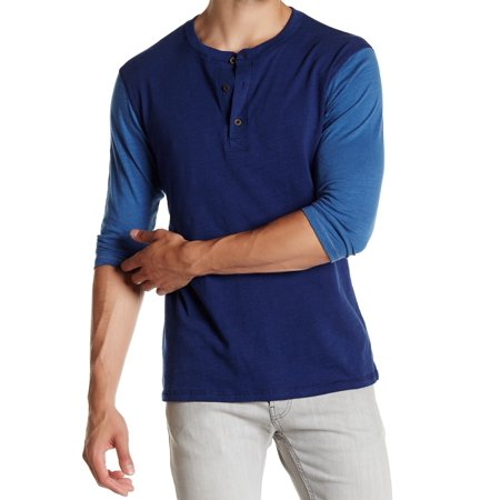 Threads 4 thought new blue mens size xl 3 4 sleeve henley for Mens xl tall henley shirts