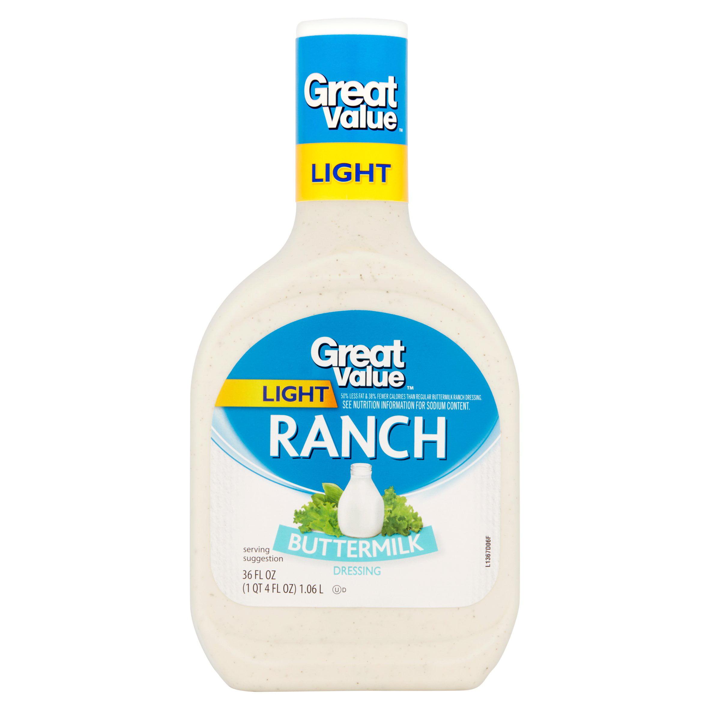 (2 Pack) Great Value Light Buttermilk Ranch Dressing, 26 oz