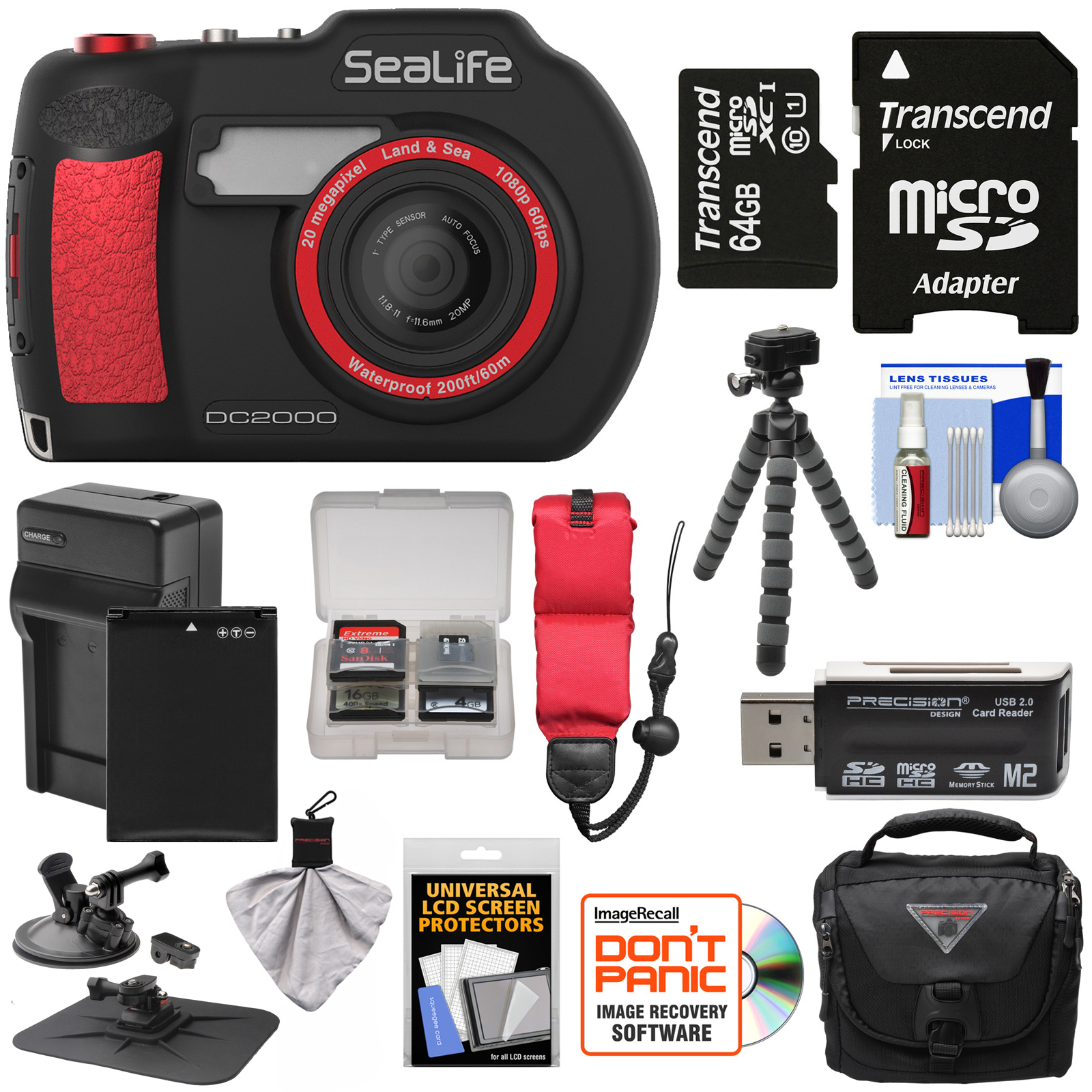 SeaLife DC2000 HD Underwater Digital Camera with 64GB Card + Battery & Charger + Case + Tripod + Suction Mount... by SeaLife