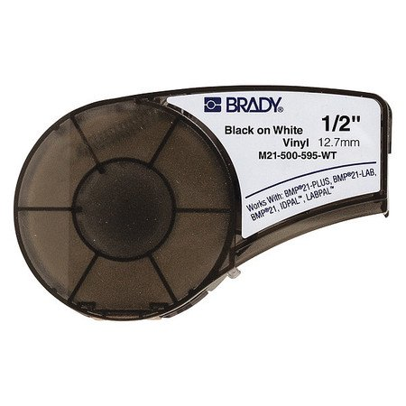 BRADY M21-500-595-WT Label Cartridge,Black/White,1/2 In. W