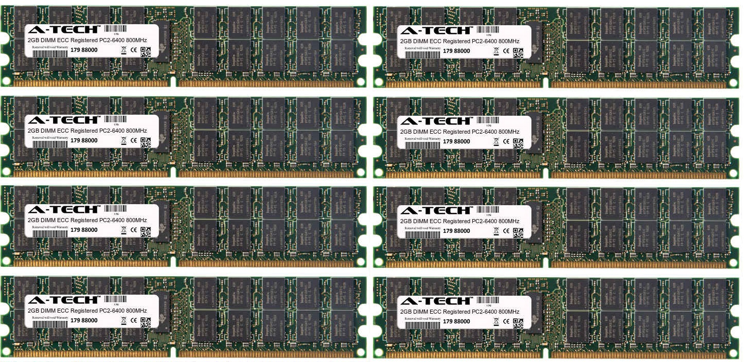 16GB Kit 8x 2GB Modules PC2-6400 800MHz ECC Registered DDR2 DIMM Server 240-pin Memory Ram