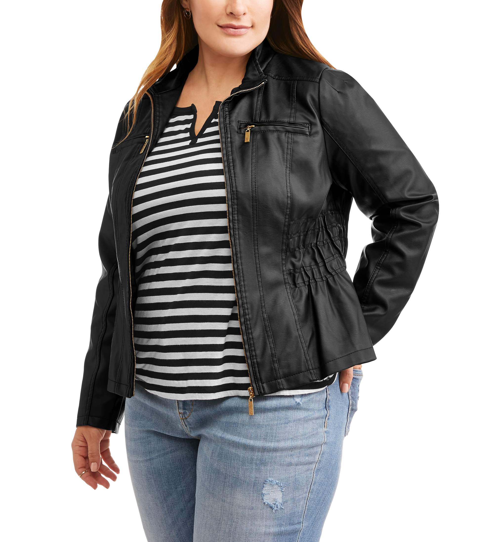 New Look New Look Women S Plus Smocked Waist Faux Leather Jacket