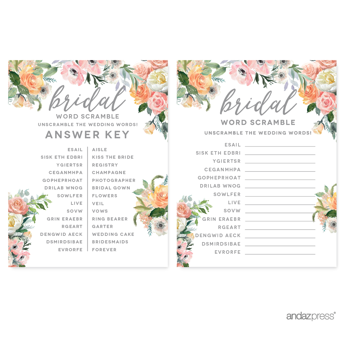Peach Coral Floral Garden Party, Wedding Word Scramble Bridal Shower Game Cards, 20-Pack