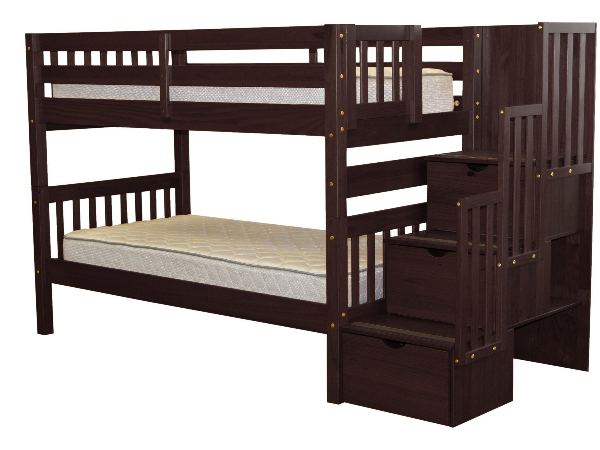 Bedz King Stairway Bunk Beds Twin over Twin with 3 Drawers in the Steps, Cappuccino by Overstock