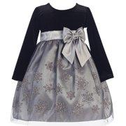 Baby Girls Silver Glitter Snowflake Velvet Tulle Christmas Dress 3-24M