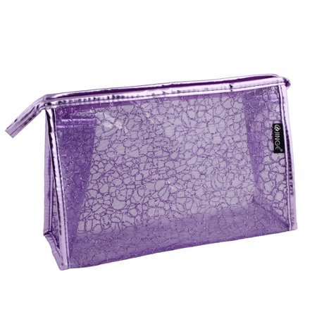 Unique Bargains Shiny Stone Block Printed Water Resistant PVC Cosmetic Makeup Bag Pouch Purple