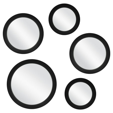 Mainstays 5-Piece Circle Mirror Set, Black Finish, 7 Inch, 9 Inch, and 11 Inch ()