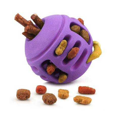Pet Toys for Dogs by Fluffy Paws Rubber Treat Toy Chewing FeedBall Dog Pet Toy (Dental Treat and Bite Resistant) Non Toxic Strong Tooth Cleaning Round Ball for Pet IQ Training Chewing Playing - Purple