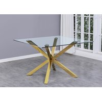 Best Quality Furniture Square Dining Table w/Clear Glass Top & Stanless Steel Base
