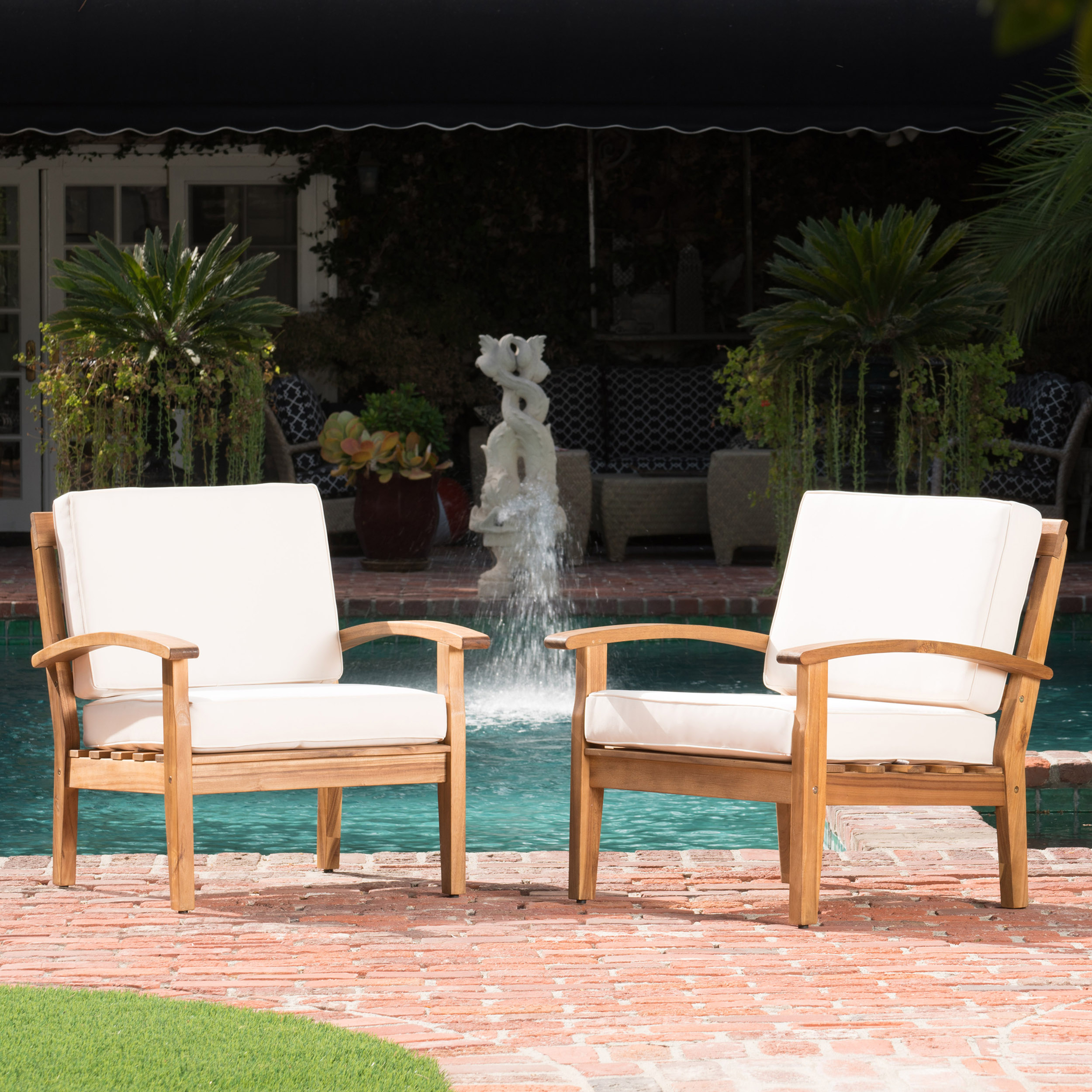 Aletta Outdoor Wooden Club Chairs with Cushions, Set of 2, Teak Finish, Beige