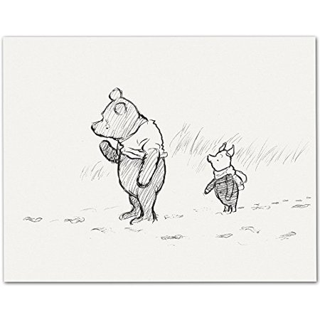 (Lone Star Art Pooh & Piglet Walking - Winnie the Pooh 11x14 Unframed Nursery Art Print)