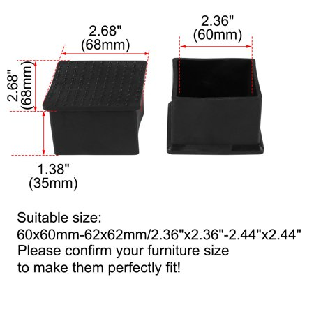 "Desk Table Leg Caps End Tip Home Furniture Protector 50pcs 2.36""x2.36"" (60x60mm) - image 1 de 7"