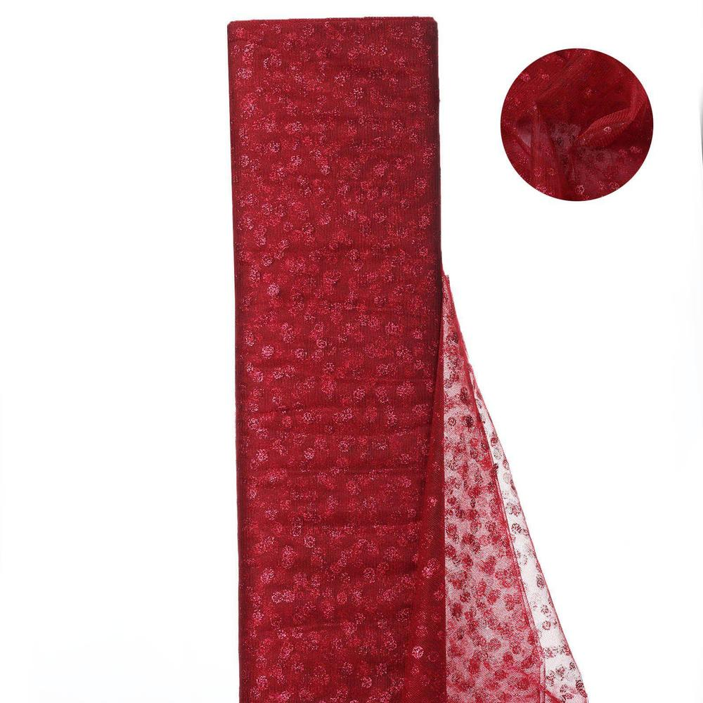 Glittered Polka Dot Tulle FabricBurgundy- 54 x 15 Yards