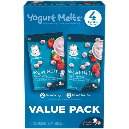 Gerber Yogurt Melts Freeze-Dried Yogurt Snacks Value Pack Strawberry/Mixed Berries 1 oz. Pouch 4 Count