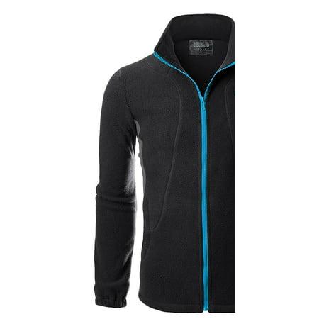 Doublju Mens Zipper Colorblock Lightweight Fleece