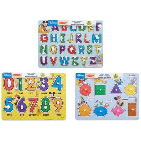 Melissa and Doug Disney Wooden Peg Puzzles Set with Letters, Numbers and Shapes and Colors