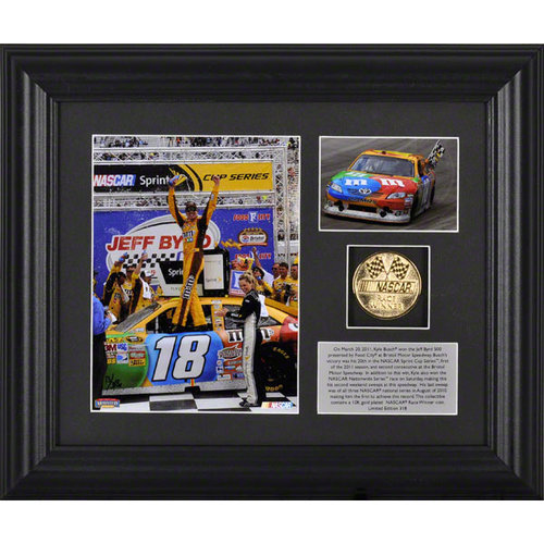 Kyle Busch Framed Photograph | Details: 2011 Jeff Byrd 500 Presented by Food City Winner, Gold Coin, Plate, Limited Edition of 318