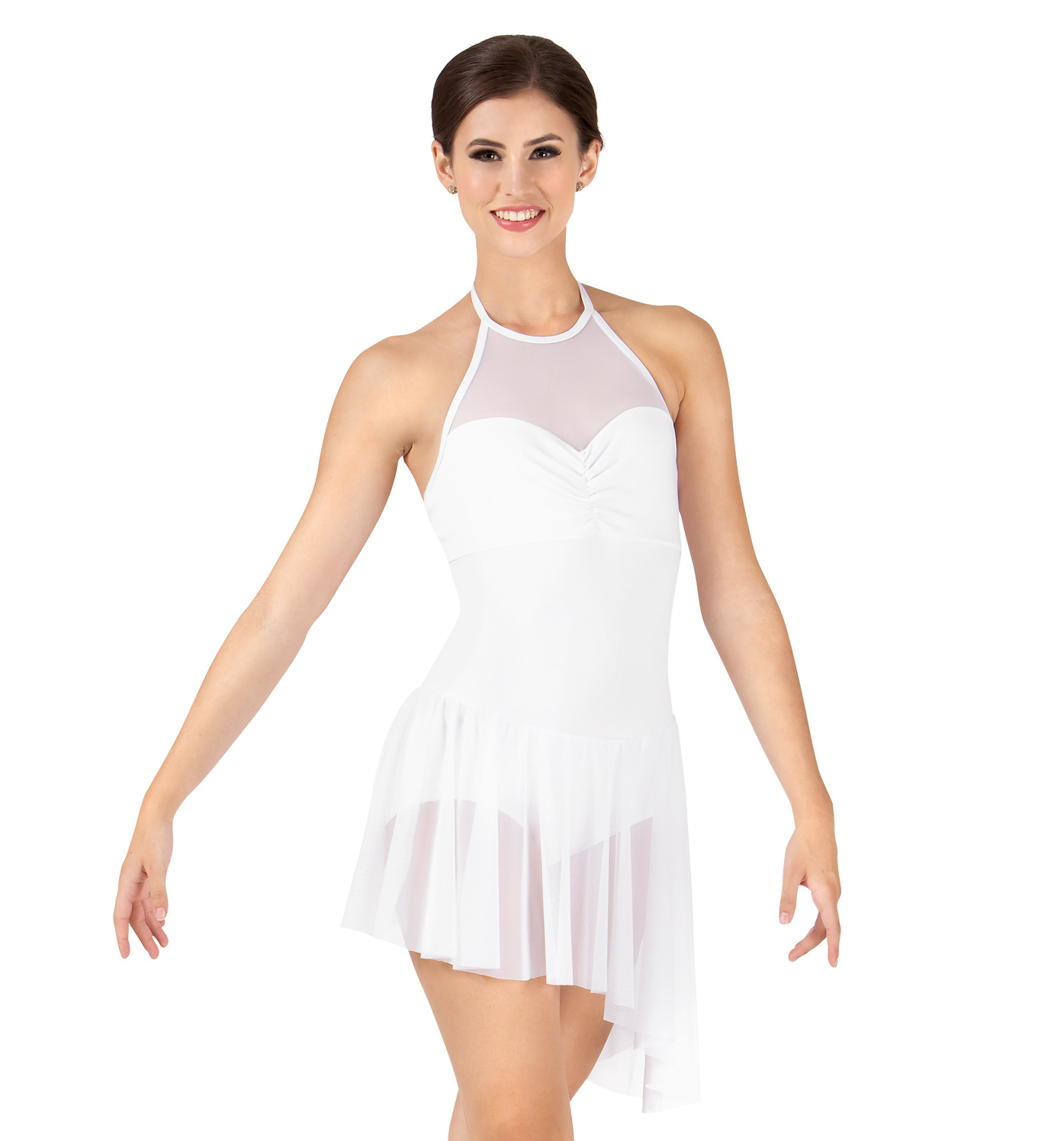 Image of Adult Asymmetrical Mesh Halter Dress