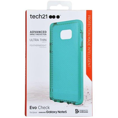 Note 5 Case, Tech21 AQUA MINT EVO CHECK ANTI-SHOCK CASE TPU COVER FOR SAMSUNG GALAXY NOTE 5