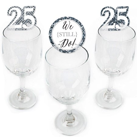 We Still Do - 25th Wedding Anniversary - Shaped Anniversary Party Wine Glass Markers - Set of 24