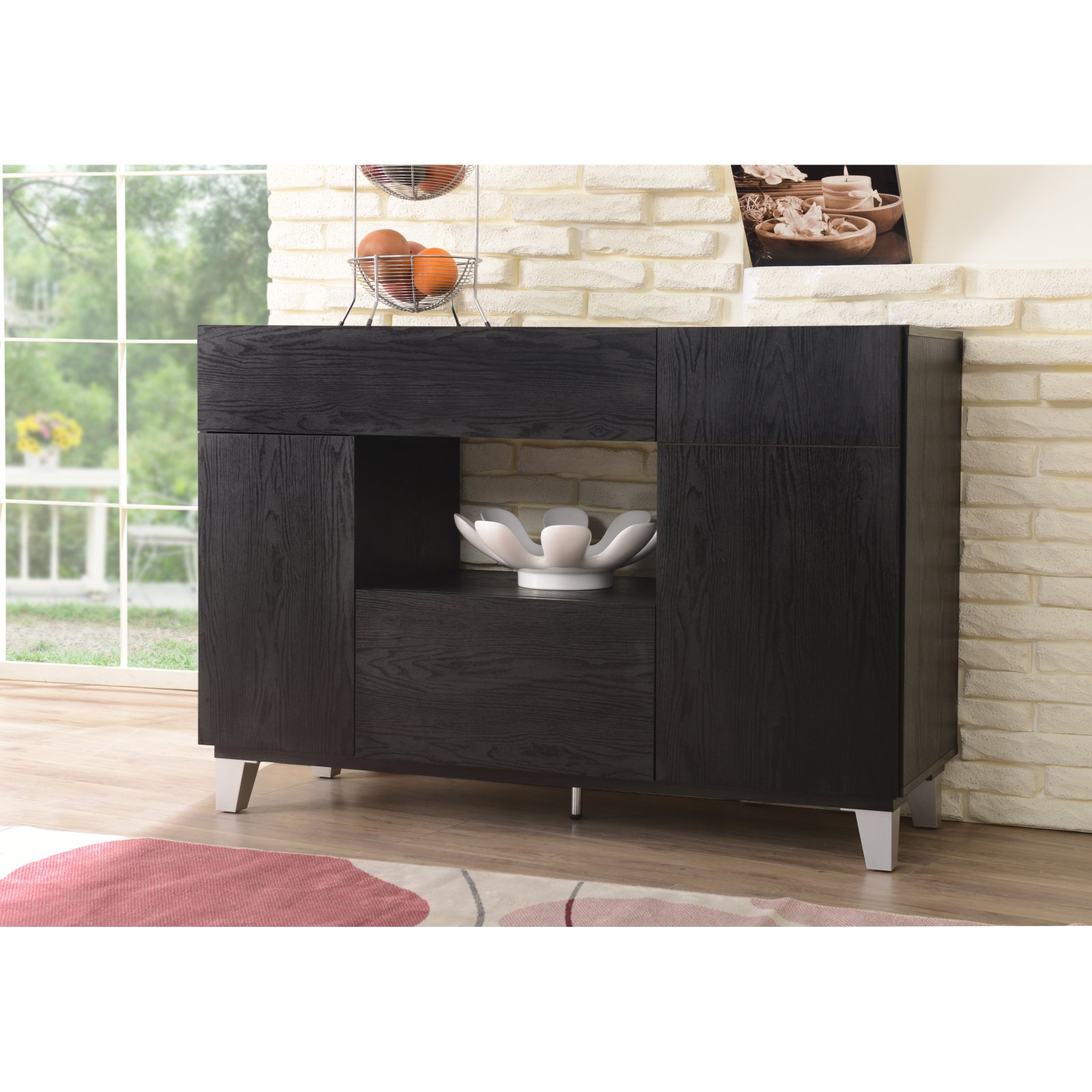 Furniture of America Delevig Black Contemporary Dining Buffet Server