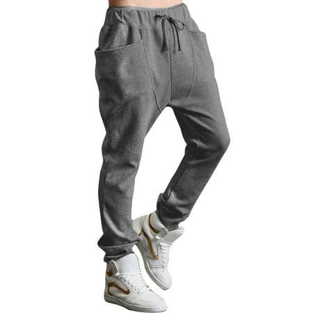 81f103ca905 Unique Bargains Men's Drawstring Sweatpants Harem Pants Gray (Size L / 36/38)  ...