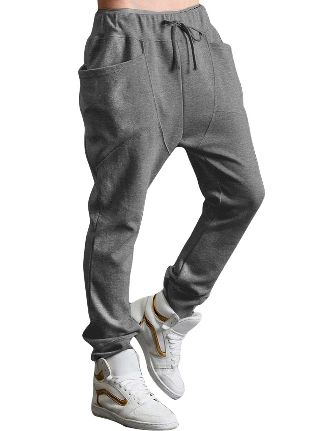 Men's Funnel Pockets Drop Crotch Drawstring Sweatpants