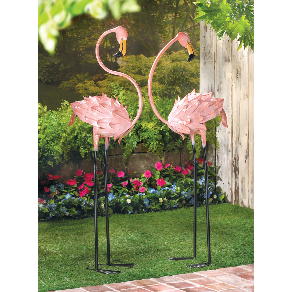 flamingo yard decorations, unique pink metal flamingo garden decor