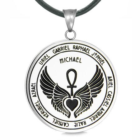 Archangels 12 Guardian Angels Medallion Wings Heart Ankh Life Power Magic Amulet Pendant Leather Necklace - Guardian Angel Necklace