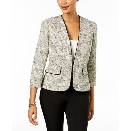 Trim Tweed Suit (Womens Contrast-Trim Tweed Blazer Jacket 10)