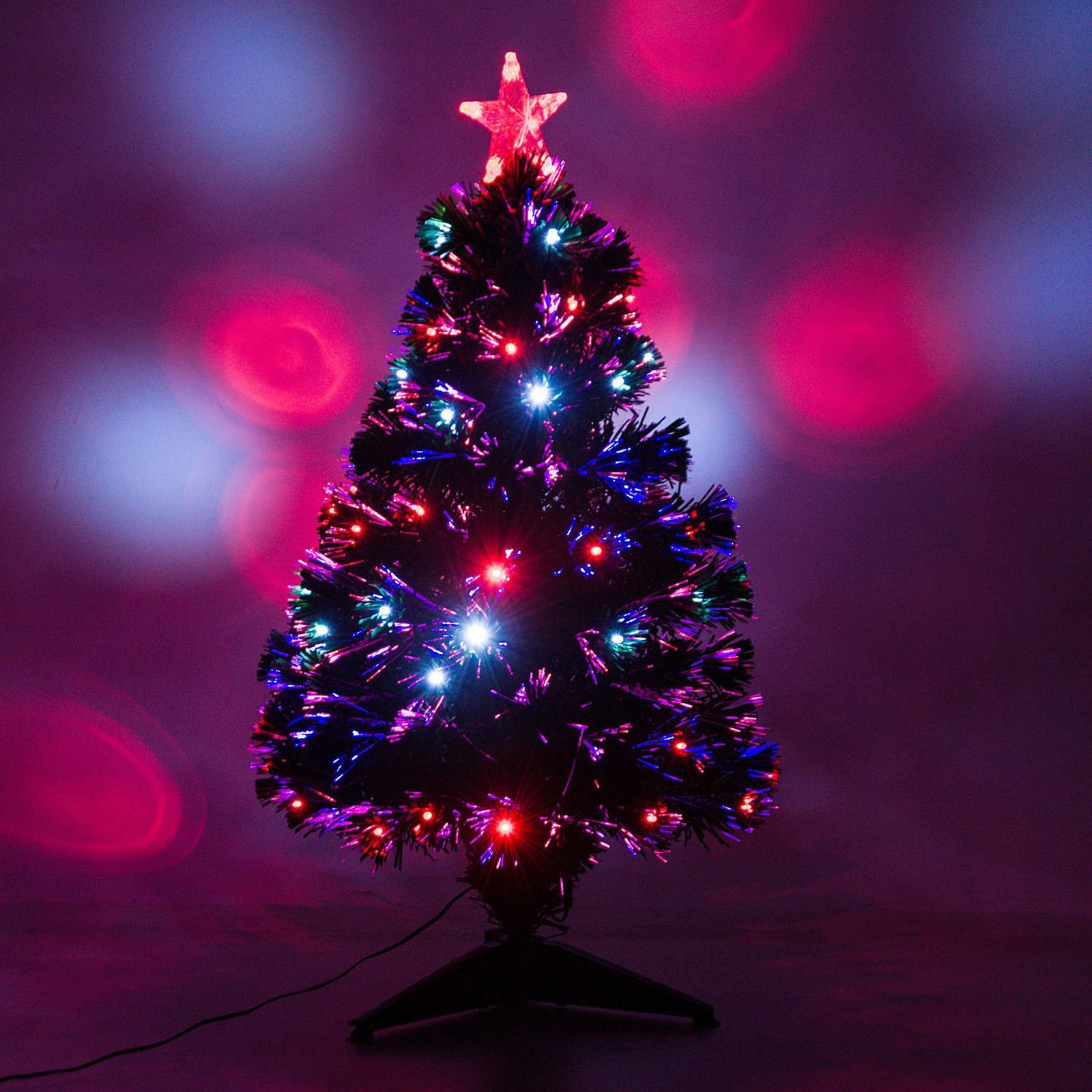 HomCom Artificial Fiber Optic and LED Prelit Holiday Christmas Tree