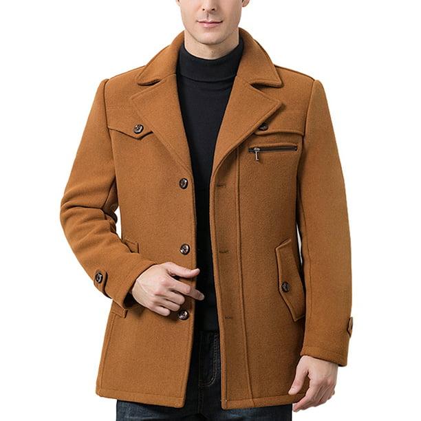 Cvlife Men Casual Winter Pea Coat Slim, Mens Peacoat Slim Fit Tan