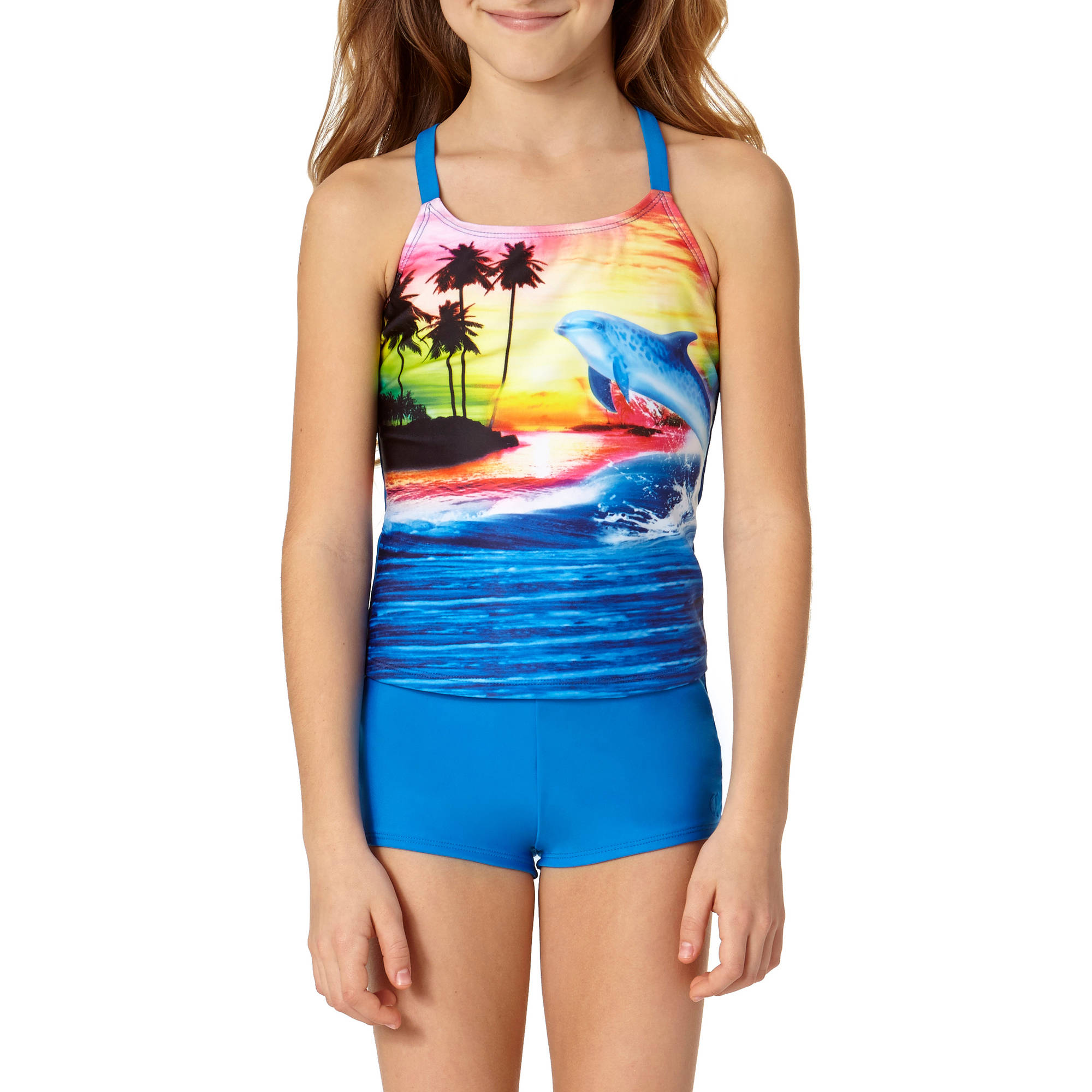 OP Girls' Dolphin Dive Tankini Swimsuit