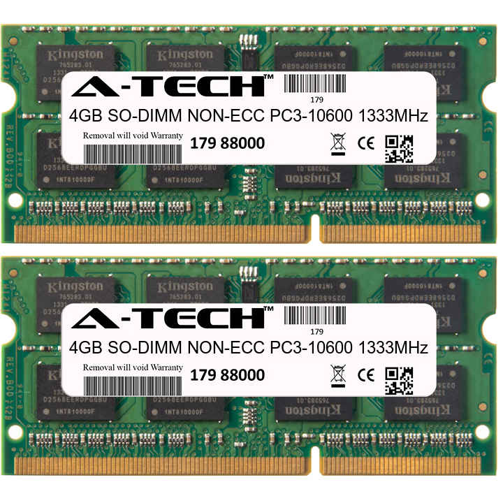 8GB Kit 2x 4GB Modules PC3-10600 1333MHz NON-ECC DDR3 SO-DIMM Laptop 204-pin Memory Ram
