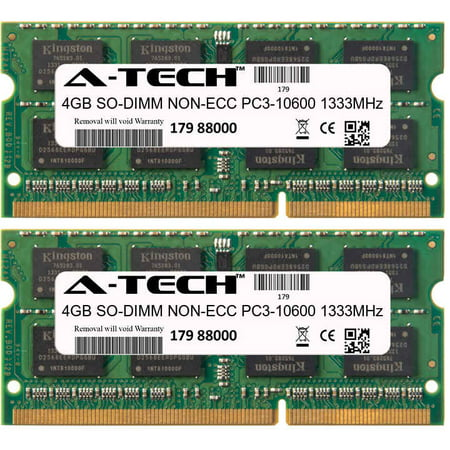 8GB Kit 2x 4GB Modules PC3-10600 1333MHz NON-ECC DDR3 SO-DIMM Laptop 204-pin Memory (Pin Sodimm Notebook Memory Module)