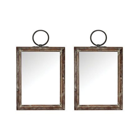 Modern Farmhouse Hanging Wall Mirror Set Of 2 Made Of Metal/Mirror/Wood In Salvaged Grey Wood Finish