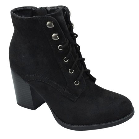 Heel Lace Up Boots - Lurk Combat Ankle Boots Soda Lace Up Booties Women Thick Heel Side Zipper Suede Black